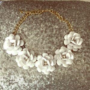 Baublebar White Floral Statement Necklace